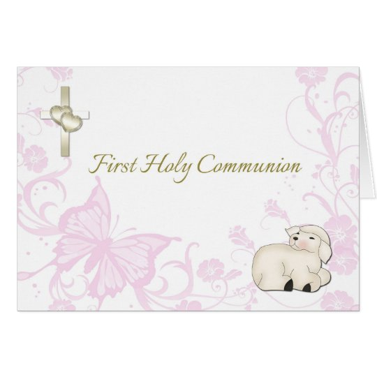 Baby Lamb Pink First Communion Greeting Card