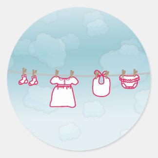 Baby Laundry - Girl Round Sticker