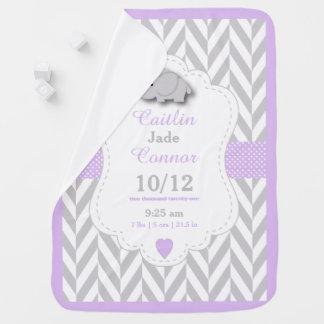 Baby Lavender Elephant Birth Keepsake Design Swaddle Blankets