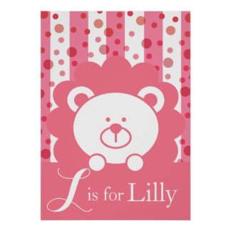 Baby Lion Alphabet - L is for Lilly Poster