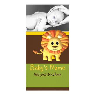 Baby Lion Announcement Customised Photo Card
