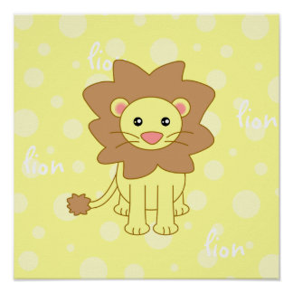 Baby Lion Cute Poster Print