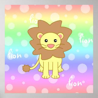 Baby Lion Cute Rainbow Poster / Print