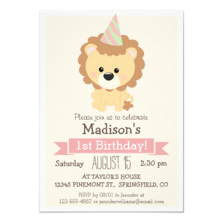 Baby Lion Girl's Birthday Party Invitation