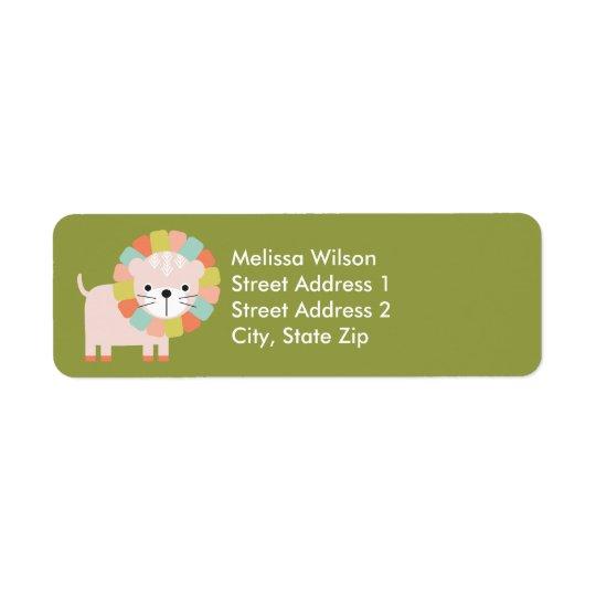 Baby Lion Olive Green Return Address Labels