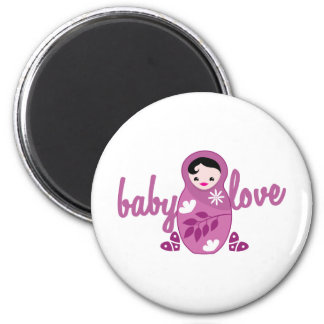 baby love babooshka doll in pink 6 cm round magnet