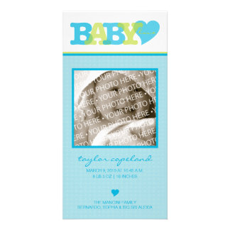Baby Love (Blue) Birth Announcement Photo Card