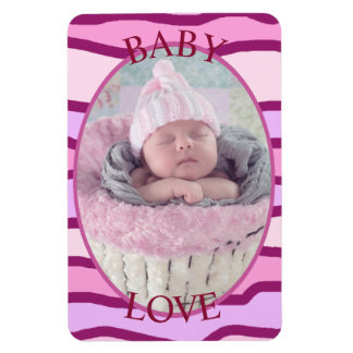 Baby Love Maroon striped  Personalized Magnet