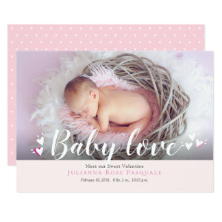 Baby Love Valentine Birth Announcement Card
