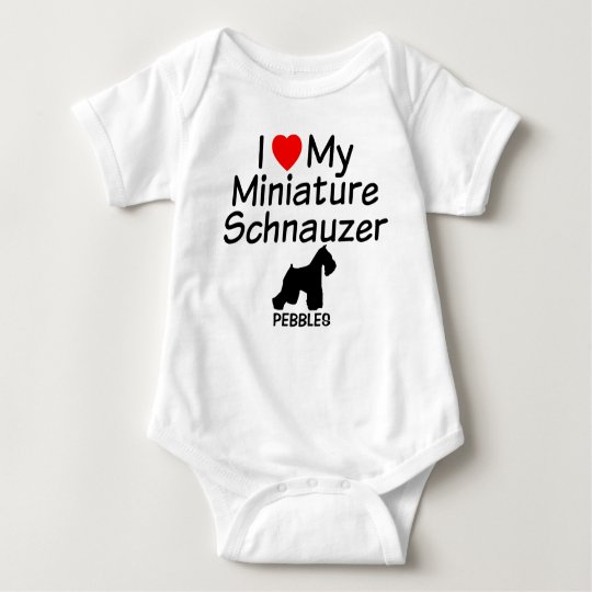 Baby loves Miniature Schnauzer Dog Baby Bodysuit