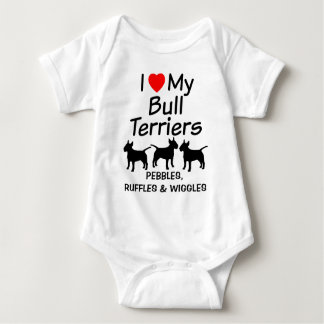 Baby Loves Three Bull Terrier Dogs Baby Bodysuit