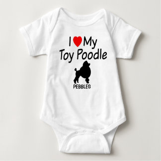 Baby Loves Toy Poodle Dog Baby Bodysuit