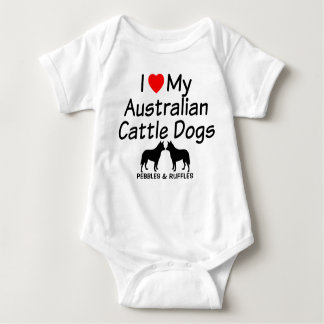Baby Loves Two Australian Cattle Dogs Baby Bodysuit