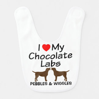 Baby Loves Two Chocolate Labs Bib