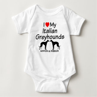 Baby Loves Two Italian Greyhound Dogs T-shirts
