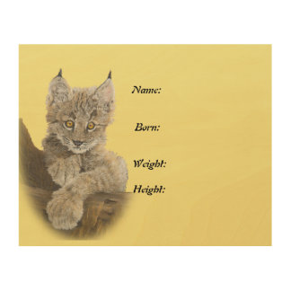 Baby Lynx Birth Announcement Plaque Wood Print