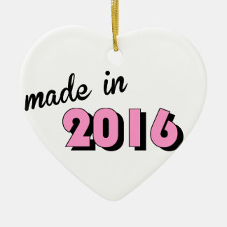 Baby Made In 2016 Pink Ceramic Heart Decoration