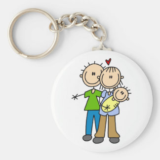 Baby Makes Three T-shirts and Gifts Basic Round Button Key Ring