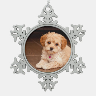 Baby Maltese poodle mix or maltipoo puppy dog Snowflake Pewter Christmas Ornament