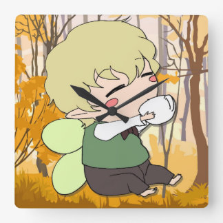Baby Manga forest fairy Square Wall Clock