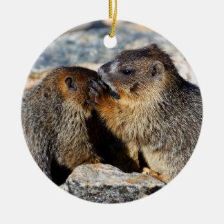 baby marmots christmas ornament