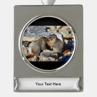 Baby Marmots Silver Plated Banner Ornament
