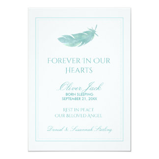 Baby Memorial Forever in Our Hearts | Blue Feather Card