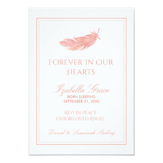 Baby Memorial Forever in Our Hearts | Pink Feather Card