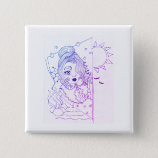 Baby Mermaid 15 Cm Square Badge