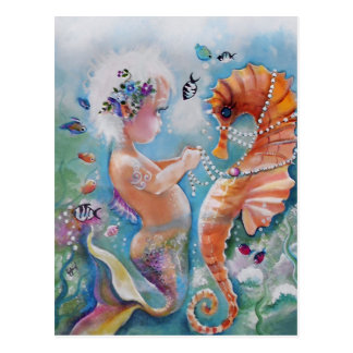 Baby Mermaid and Sea Horse Postcard