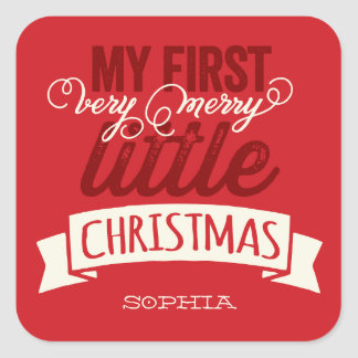 Baby Merry Little First Christmas Holiday Sticker