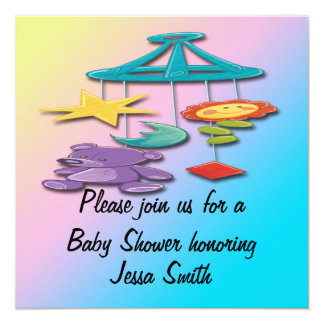 "Baby Mobile Baby Shower Invitations 5.25"" Square Invitation Card"