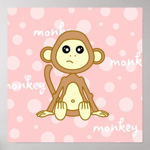 Baby Monkey Cute Poster / Print Nursery Wall Art