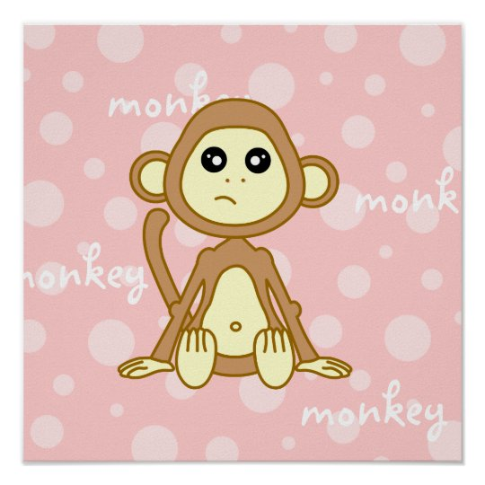 Baby Monkey Cute Poster / Print Nursery Wall Art