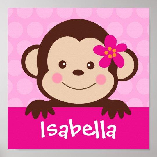 Baby Monkey Personalised Name Art Print Girls