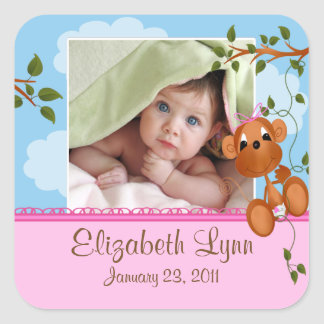 Baby Monkey Photo Birth Announcement Sticker