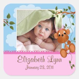 Baby Monkey Photo Birth Announcement Sticker