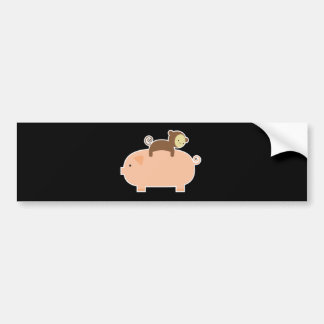 Baby Monkey Riding Backwards on a Pig Bumper Sticker