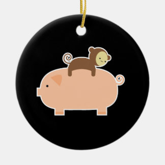 Baby Monkey Riding Backwards on a Pig Christmas Ornament