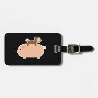 Baby Monkey Riding Backwards on a Pig Luggage Tag