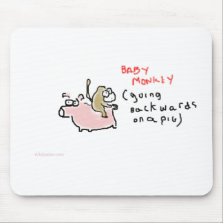 Baby Monkey (riding backwards on a pig) Mouse Pad