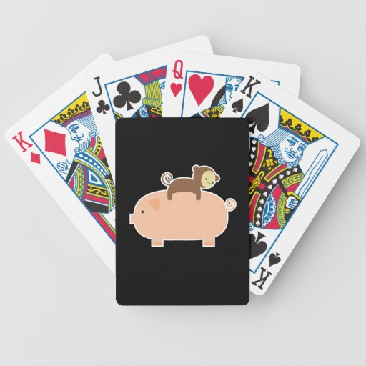 Baby Monkey Riding Backwards on a Pig Playing Cards