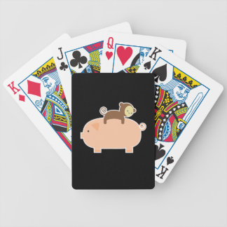Baby Monkey Riding Backwards on a Pig Poker Deck