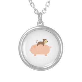 Baby Monkey Riding Backwards on a Pig Round Pendant Necklace