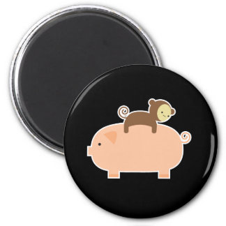 Baby Monkey Riding on a Pig 6 Cm Round Magnet