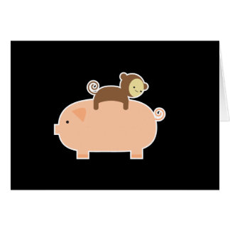 Baby Monkey Riding on a Pig Greeting Cards