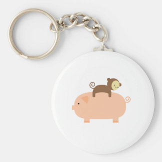 Baby Monkey Riding on a Pig Key Ring