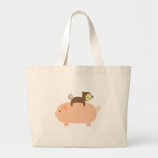 Baby Monkey Riding on a Pig Large Tote Bag