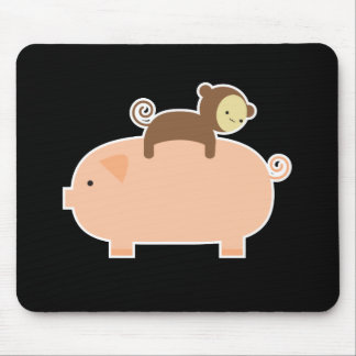 Baby Monkey Riding on a Pig Mouse Mat