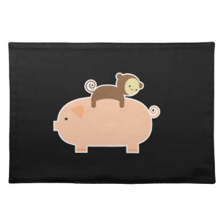 Baby Monkey Riding on a Pig Place Mats